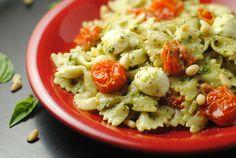 Basil Pesto Pasta with Roasted Cherry Tomatoes & Mozzarella ~ Secret Recipe Club! | Juanita's Cocina