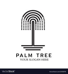 Palm tree logo with line design vector image on VectorStock Little Fish, Big Fish, Line Design, Web Design, Ui, Fish Illustration, Tree Logos, Single Image, Logo Ideas
