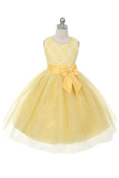 Rain Kids Lace Bow Sash Sparkly Tulle Flower Girl Dress 2-14 (Yellow)