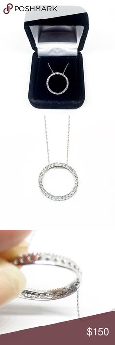 10k White Gold Authentic Diamond Circle Necklace Beautiful 10k white gold authentic diamond circle necklace. The charm is about one inch long and showcases many small authentic glistening diamonds. The chain is 18 inches long and also crafted in solid 10k white gold.  A very stunning and elegant piece. Comes in a necklace box.  If you have any questions please ask and be sure to check out my other jewelry listings! Kay Jewelers Jewelry Necklaces