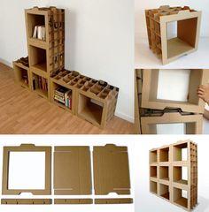 Cardboard Drawers, Cardboard Chair, Diy Cardboard Furniture, Cardboard Storage, Paper Furniture, Cardboard Paper, Mirrored Furniture, Cardboard Crafts, Upcycled Furniture