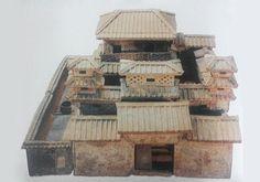 彩繪陶院落,陶器,東漢,通高84釐米,長130釐米,寬114釐米。1981年河南省淮陽于莊漢墓出土。現藏河南博物院。