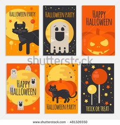 Halloween party banners, cards and posters in flat style. Vector halloween…