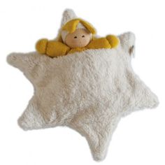 Sweet little baby doll comes tucked into it's own star bed made of thick organic cotton fleece. www.bellalunatoys.com