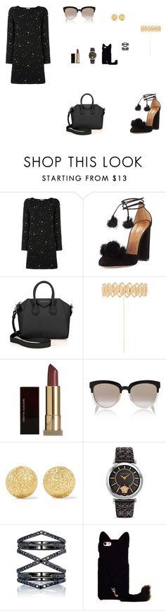 """Look do Dia"" by julianaf121 ❤ liked on Polyvore featuring Versace, Aquazzura, Givenchy, Haati Chai, Kevyn Aucoin, Christian Dior, Carolina Bucci and Eva Fehren"