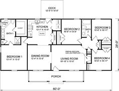 4 Bedroom Ranch Floor Plans  First Plan of House 45467 home decor Pinterest floor plans house and