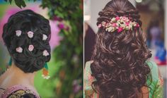 Beautiful half undo hairstyle with curls Engagement Hairstyles, Braided Hairstyles For Wedding, Long Hairstyles, Bride Hairstyles, Hairstyle Ideas, Flower Hairstyles, Bun Hairstyle, Indian Hairstyles, Hairdos