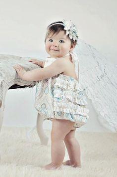 Baby Girls Ruffle Bottom Halter Bubble Sunsuit in Posh  as seen on People.com. $37.95, via Etsy.