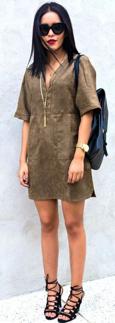 Style Ambitions Brown Suede Lace Up Dress Fall Street Style Inspo #Fashionistas
