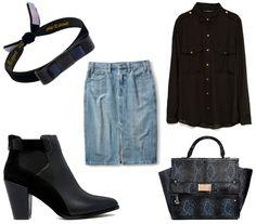 Trzy stylizacje: jeansowa spódnica do pracy  Czerń w romansie z granatem. Z pazurem, charakterem i stoickim spokojem.  Więcej na Moda Cafe!