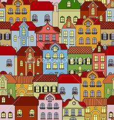 Бесшовный паттерн с ретро зданий и домов — стоковая иллюстрация #31918889