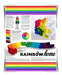 """Rainbow!"" by beet-1 ❤ liked on Polyvore featuring interior, interiors, interior design, home, home decor, interior decorating, Universal Lighting and Decor and rainbowhome"