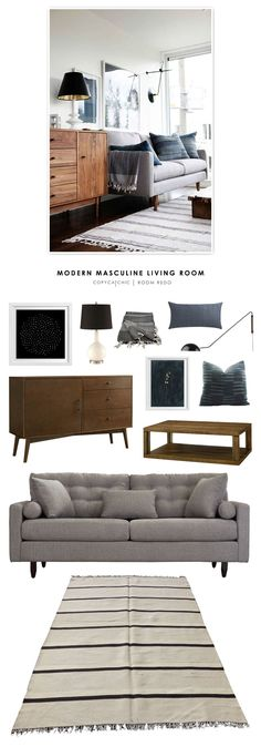 Copy Cat Chic Room Redo | Modern Masculine Living Room