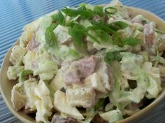 From my former manager..very different and so good.  I dont like traditional potato salads but I love this one.