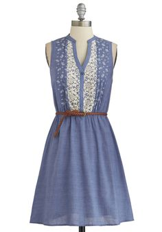 Prairie Date Dress - Blue, White, Embroidery, Belted, Casual, A-line, Sleeveless, Good, Buttons