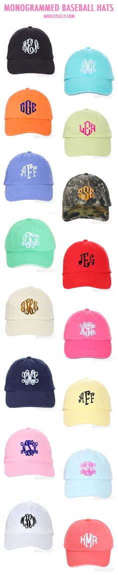 Monogrammed Baseball Hats in every color possible! Only at Marleylilly.com!