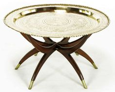 Moroccan Incised Brass U0026 Mahogany Folding Six Leg Tray Table