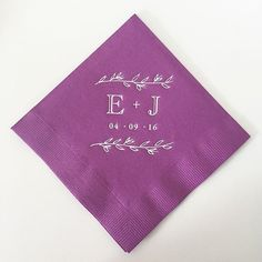 'ello Paper | Custom Wedding Stationery | Counting down to Elizabeth & Joe's big day! Love seeing their custom logo on the cocktail napkins! #ellopaper #cocktailnapkin #bevnap