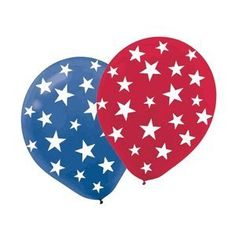 "Patriotic Stars Printed 12in Balloons 20ct by Factory Card and Party Outlet. $5.77. Each package of Patriotic Stars Balloons includes 20 printed 12"" latex balloons. Balloons are red and blue and imprinted with white stars. WARNING: CHOKING HAZARD - Children under 8 yrs. Can choke or suffocate on uninflated or broken balloons. Adult supervision required. Keep uninflated balloons from children. Discard broken balloons at once."