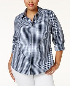 23.25$  Watch here - http://vitca.justgood.pw/vig/item.php?t=rp501k29350 - Plus Size Gingham Shirt, Only at Macy's 23.25$