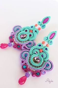 https://www.facebook.com/rejegioielliinsoutache Haute couture soutache earrings , entirely hand-sewn, handmade in Italy -Reje creations-