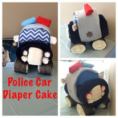 Police car diaper cake Made using 72 diapers, 3 pairs of socks (rear view mirrors, headlights, and tail lights), 1 large fleece blanket, 1 small fleece blanket, 2 bibs (windshield), two washcloths (police lights), ribbon and rubber bands!