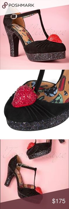 Miss L-Fire 40s Strawberry Glitz Plateau Pumps These cuties are made from high quality black suede with adjustable strap and a comfy platform, so they are not as high as they seem to be. Finished off with glitters on the platform and on the heel that will sparkle in blue/purple with every step you make and as eye catching detail a strawberry covered with rhinestones on the nose, vavavoom! The leather insole has a comfy padded footbed with a stunning diamond print. Modcloth Shoes Heels