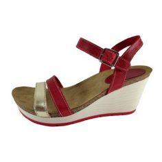 Sandalias señora con cuña blanca en piel roja y dorada.