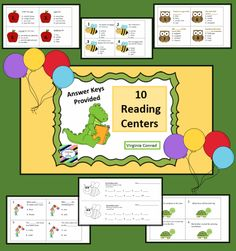 10 reading centers--10 task cards each---student answer sheets and answer keys included---easy to make and easy to use