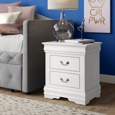 House of Hampton Cameron 3 Drawer Bachelor's Chest Vanity Set With Mirror, 3 Drawer Nightstand, Panel Headboard, End Tables With Storage, Murphy Bed, Drawer Fronts, Home Living Room, Solid Wood, Drawers
