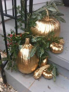 Gold Painted Halloween Pumpkins for Christmas Christmas Pumpkins, Christmas Porch, Outdoor Christmas, Fall Pumpkins, Rustic Christmas, Winter Christmas, All Things Christmas, Halloween Pumpkins, Christmas Holidays
