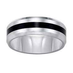 Triton Men's 8.0mm Comfort Fit Tungsten and Black Resin Stripe Wedding Band - Zales, $194