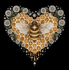 Heart Poster, Bee Tattoo, Bee Art, Bees Knees, Funny Art, Animal Paintings, Quilting Projects, Sell Your Art, Art Sketches