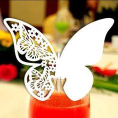 Hvid bordkort sommerfugl, 10 stk. - Guldbryllup - ANLEDNING