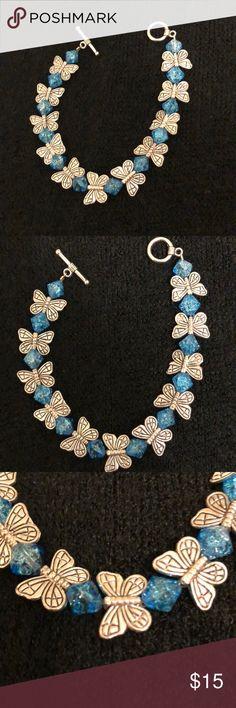 Bracelet Blue butterfly bracelet made with silver butterflies and blue glass beads. Jewelry Bracelets