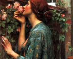 In The Garden in Art, acclaimed art historian Debra N. Mancoff reveals the many different ways in which artists from all periods of history – from ancient Egypt to the present day – have employed the motif of the garden. John William Waterhouse, Pre Raphaelite, Season Colors, Vintage Flowers, Flower Art, Cross Stitch Patterns, Canvas Prints, Fine Art, Rose