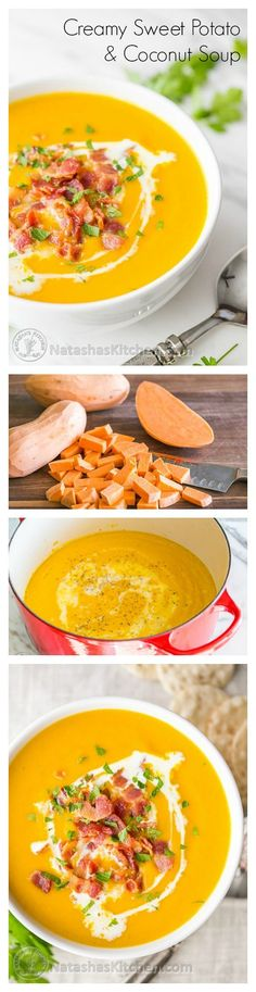 Sweet Potato and Coconut Soup Recipe – creamy without using any cream! Comfort in a bowl from @natashaskitchen