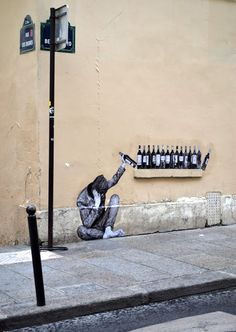 """One Too Many"" by Levalet in Paris, France"