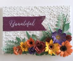 DIY floral card with woven background, wicker effect. 3D Flower Dies Florartistry Crafts DIY, Create, Cardmaking, Papercrafts.