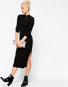 Birthday gift to meeeeee! Image 4 of Monki Ribbed Midi Dress with Side Splits