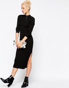Birthday gift to meeeeee! Image 4 of Monki Ribbed Midi Dress with Side Splits
