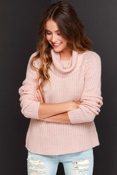 Got something to say? Let your outfit do the talking for you with the Make It Known Blush Sweater! A large and comfy cowl neck tops this ribbed knit sweater, amplifying its long raglan sleeves that frame a relaxed-fit bodice. The ribbed knit pattern brings lovely depth to the peachy blush color. Unlined. 78% Acrylic, 22% Cotton. Hand Wash Cold. Imported.
