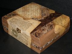 Old cigar box, redone and decoupaged with pages of books from 1920s.  Pretty.