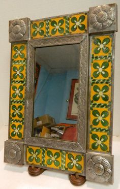 "Vintage Embossed Tin and Ceramic Tile Wall Mirror 14.5"" x 10.5""  Very Good Cond :d"