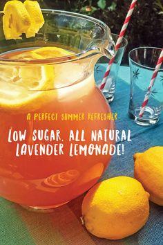 The best secret summer recipe revealed! Low-sugar, all natural lavender lemonade recipe |  via barley and birch