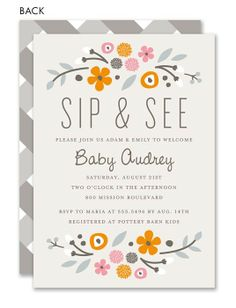 Rustic Floral Pink Sip and See Invitation