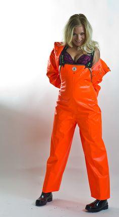 Shiny orange waders Rain Pants, Rain Suit, Rain Jacket, Pvc Raincoat, Yellow Raincoat, Pvc Trousers, Mudding Girls, Rain Gear, Raincoats For Women