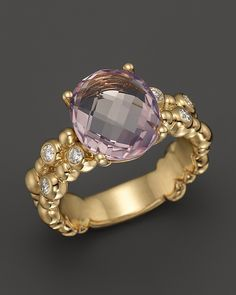 Michael Aram 18K Yellow Gold Double Row Molten Ring with Amethyst & Diamond Accents