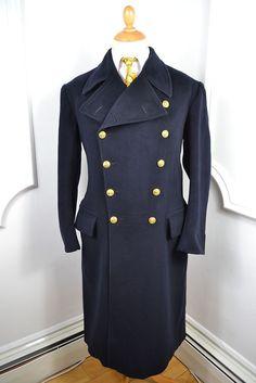 VINTAGE 1942 WW2 GIEVES SAVILE ROW BLUE NAVAL OFFICERS OVERCOAT COAT MED 40 REG