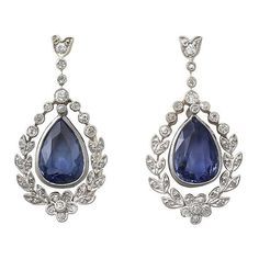 Antique Sapphire and Diamond Earrings Circa 1930 (75.641.725 IDR) ❤ liked on Polyvore featuring jewelry, earrings, antique jewelry, antique diamond jewelry, antique jewellery, diamond earring jewelry and diamond jewellery